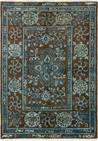 Bordered  Transitional Brown Area rug 5x8 Indian Hand-knotted 280318