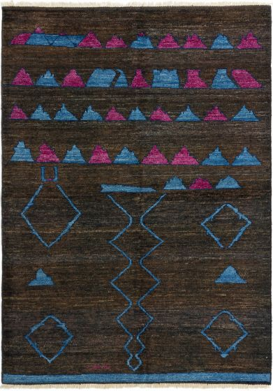 Casual  Transitional Brown Area rug 6x9 Indian Hand-knotted 280483