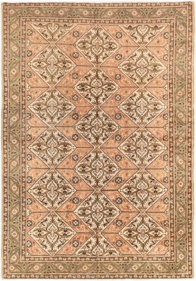 Bordered  Geometric Brown Area rug 6x9 Turkish Hand-knotted 281031