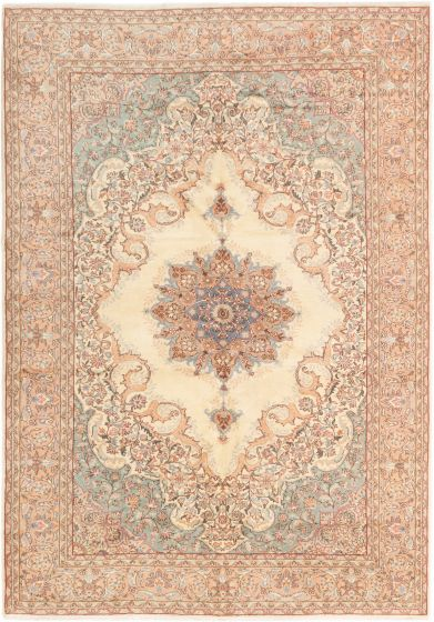 Bordered  Traditional Ivory Area rug 6x9 Turkish Hand-knotted 281060