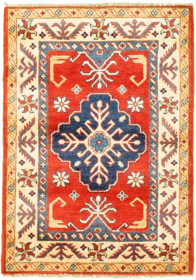 Bordered  Traditional Red Area rug 3x5 Afghan Hand-knotted 330163