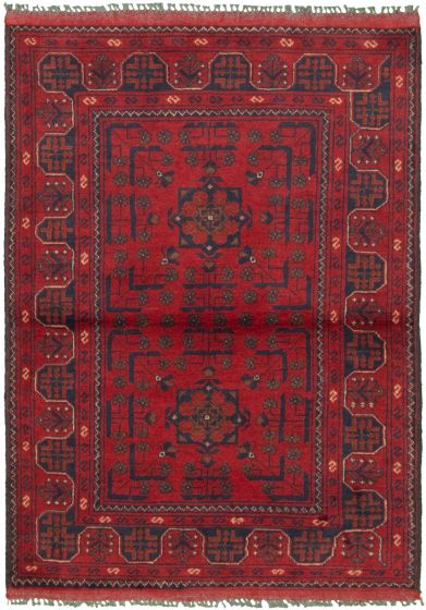 Bordered  Tribal Red Area rug 3x5 Afghan Hand-knotted 330288