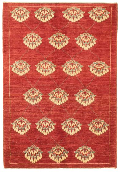 Bordered  Transitional Red Area rug 3x5 Pakistani Hand-knotted 330352