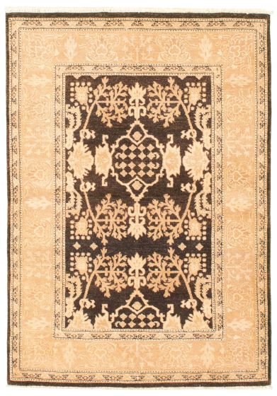 Bordered  Transitional Brown Area rug 3x5 Pakistani Hand-knotted 331588