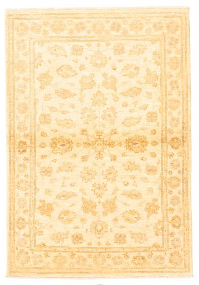 Bordered  Traditional Ivory Area rug 3x5 Afghan Hand-knotted 331597