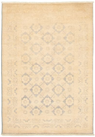 Bordered  Transitional Ivory Area rug 3x5 Pakistani Hand-knotted 338992