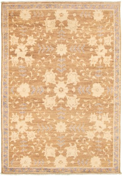 Bordered  Transitional Brown Area rug 5x8 Pakistani Hand-knotted 339006