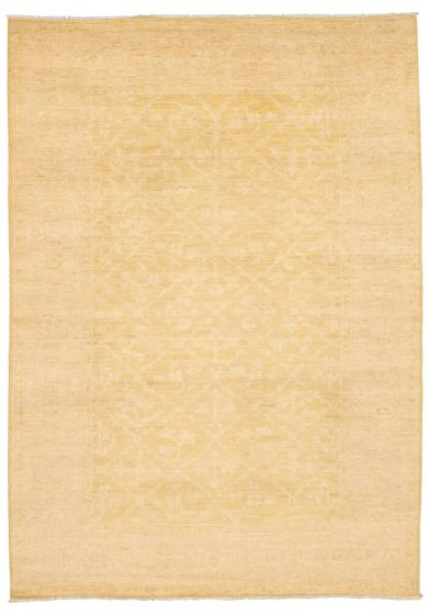 Bordered  Transitional Yellow Area rug 5x8 Pakistani Hand-knotted 339027
