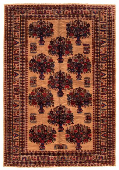 Bordered  Tribal Brown Area rug 6x9 Afghan Hand-knotted 348543