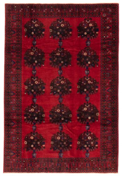 Bordered  Tribal Red Area rug 6x9 Afghan Hand-knotted 357392