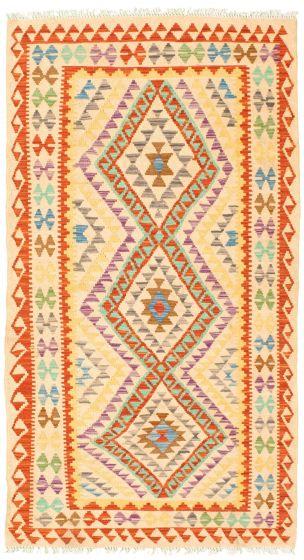 Bordered  Geometric Ivory Area rug 3x5 Turkish Flat-weave 330001