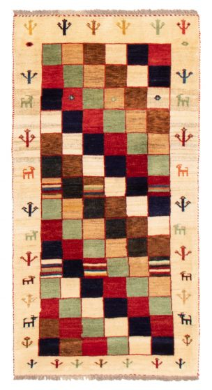 Bordered  Tribal Ivory Area rug 3x5 Persian Hand-knotted 358537