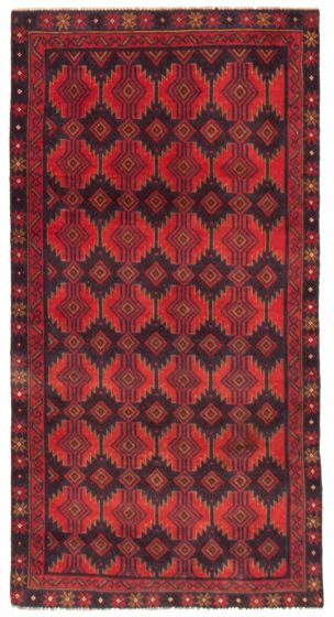 Geometric  Tribal Red Area rug 3x5 Afghan Hand-knotted 367536