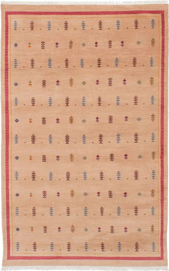 Transitional Ivory Area rug 5x8 Pakistani Hand-knotted 229352