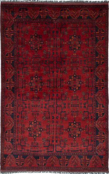 Traditional  Tribal Red Area rug 4x6 Afghan Hand-knotted 236249