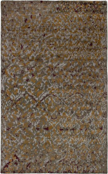 Casual  Contemporary Green Area rug 5x8 Indian Hand-knotted 271612