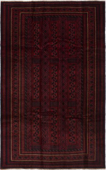 Bordered  Tribal Red Area rug 6x9 Afghan Hand-knotted 278393