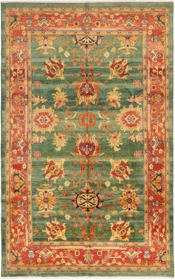Bordered  Traditional Green Area rug 5x8 Turkish Hand-knotted 280765