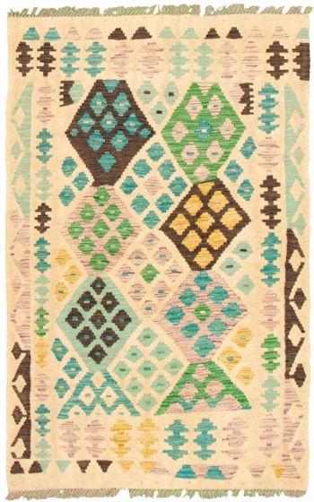 Bordered  Geometric Ivory Area rug 3x5 Turkish Flat-weave 330191