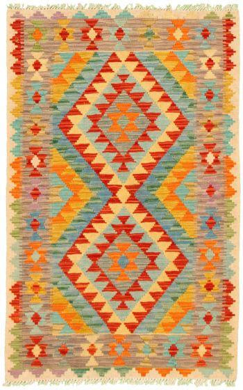 Bordered  Geometric Multi Area rug 3x5 Turkish Flat-weave 330231
