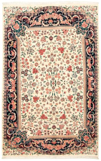Bordered  Traditional Ivory Area rug 5x8 Pakistani Hand-knotted 330536