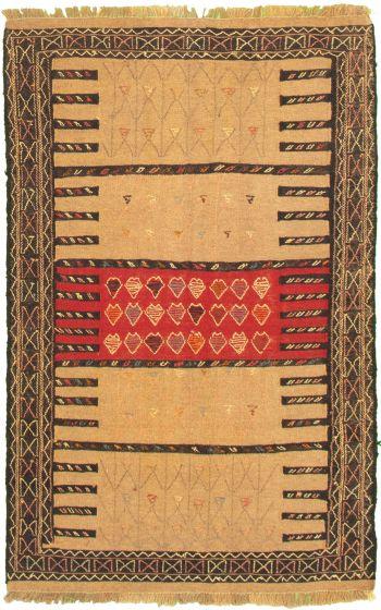 Bordered  Tribal Brown Area rug 3x5 Turkish Flat-weave 334942