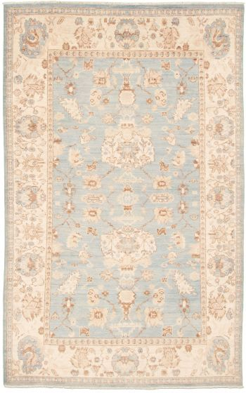 Bordered  Traditional Blue Area rug 5x8 Pakistani Hand-knotted 339004