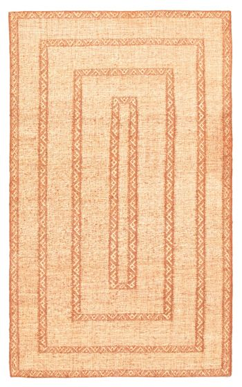 Flat-weaves & Kilims  Transitional Brown Area rug 5x8 Indian Flat-weave 344452