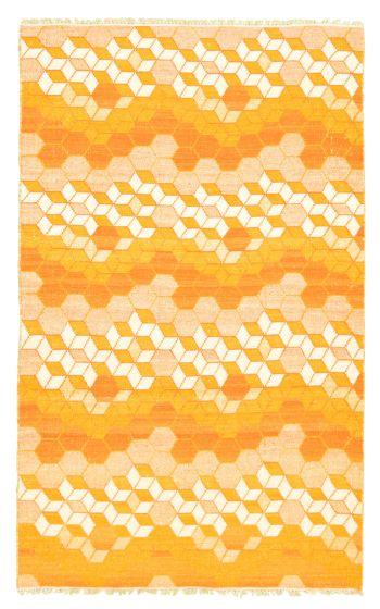 Flat-weaves & Kilims  Transitional Orange Area rug 5x8 Indian Flat-weave 344484