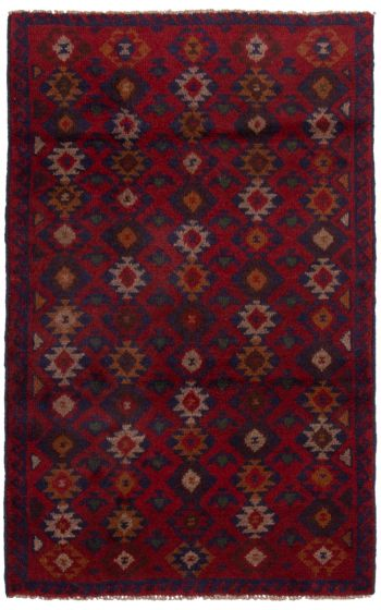 Bordered  Tribal Red Area rug 3x5 Afghan Hand-knotted 360564