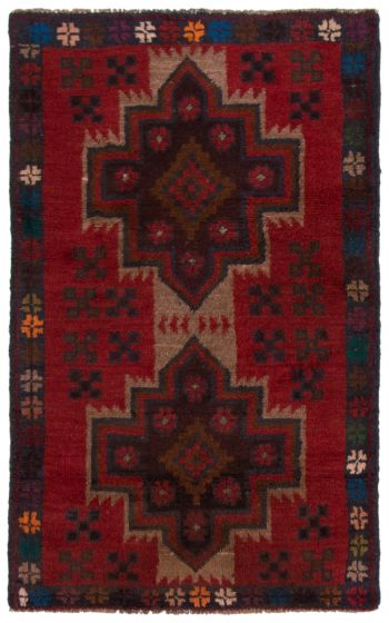 Bordered  Tribal Red Area rug 3x5 Afghan Hand-knotted 360571