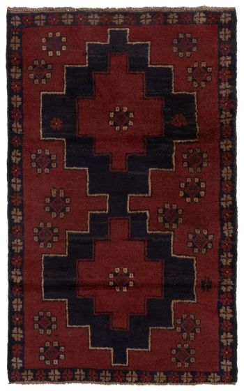 Bordered  Tribal Red Area rug 3x5 Afghan Hand-knotted 360574