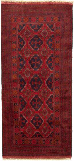 Bordered  Tribal Red Runner rug 6-ft-runner Afghan Hand-knotted 330305