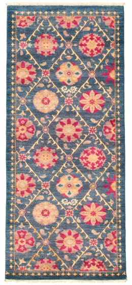 Floral  Transitional Blue Runner rug 6-ft-runner Pakistani Hand-knotted 342126