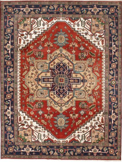 Traditional Orange Area rug 9x12 Indian Hand-knotted 207772