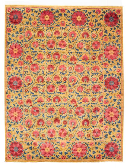 Bordered  Transitional Brown Area rug 9x12 Pakistani Hand-knotted 311131