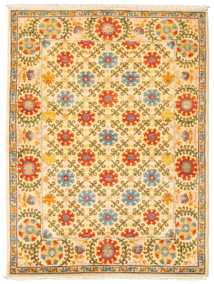 Bordered  Transitional Ivory Area rug 3x5 Pakistani Hand-knotted 342159