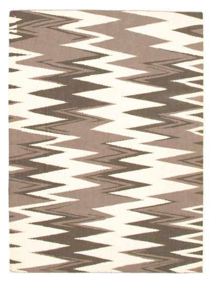 Flat-weaves & Kilims  Transitional Grey Area rug 4x6 Turkish Flat-weave 344451