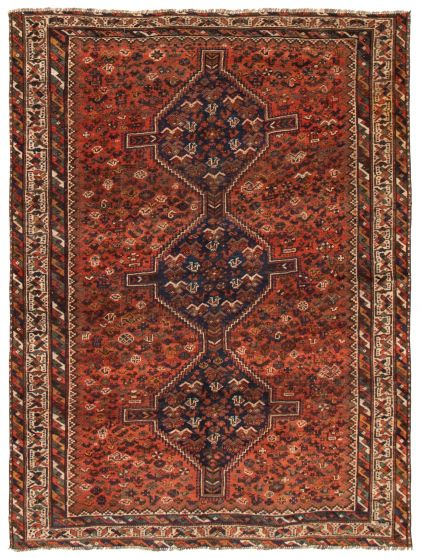 Bordered  Vintage Brown Area rug 6x9 Turkish Hand-knotted 367165