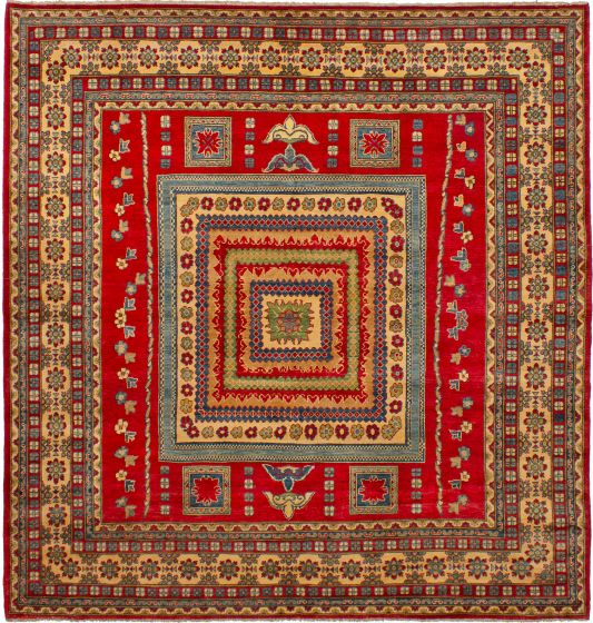 Bordered  Traditional Red Area rug Square Afghan Hand-knotted 272582