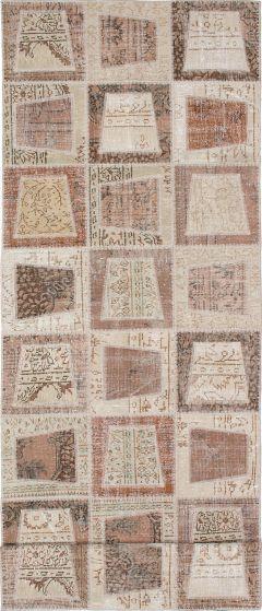 Transitional Ivory Runner rug 12-ft-runner Turkish Hand-knotted 231763