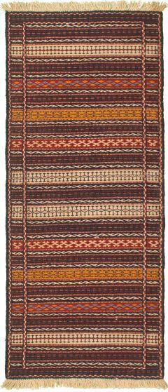 Bordered  Stripes Blue Runner rug 7-ft-runner Turkish Flat-weave 334958