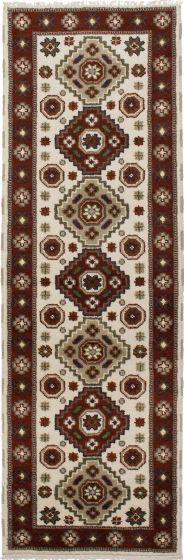Bordered  Tribal Ivory Runner rug 8-ft-runner Indian Hand-knotted 233190