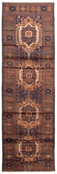 Bordered  Tribal Blue Runner rug 10-ft-runner Afghan Hand-knotted 342424