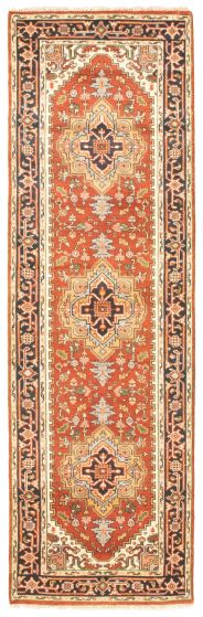 Bordered  Traditional Red Runner rug 10-ft-runner Indian Hand-knotted 344570