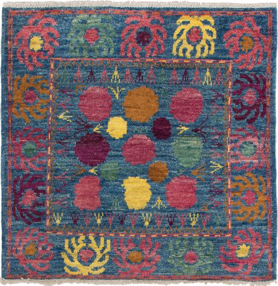 Bordered  Transitional Blue Area rug Square Indian Hand-knotted 280145