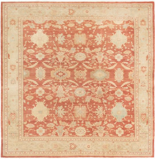 Bordered  Transitional Brown Area rug Square Turkish Hand-knotted 281138