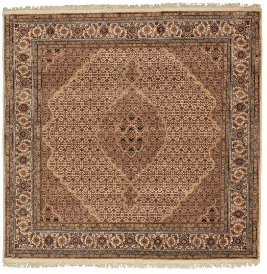 Bordered  Traditional Ivory Area rug Unique Indian Hand-knotted 308991