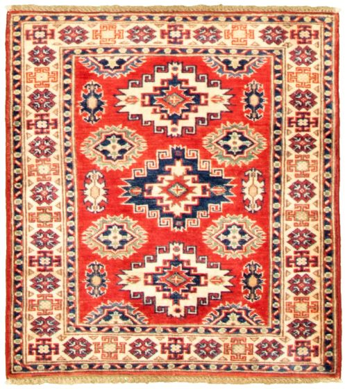 Bordered  Traditional Red Area rug Unique Afghan Hand-knotted 330297