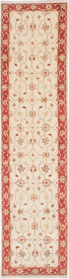 Traditional Ivory Runner rug 10-ft-runner Indian Hand-knotted 223879